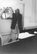 Melanie with her first used truck in Atlanta 1987
