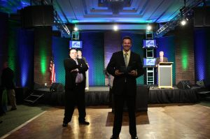 Chad and Mark receive the 2 million dollar award for Sacramento at the TWO MEN AND A TRUCK® Annual Meeting.