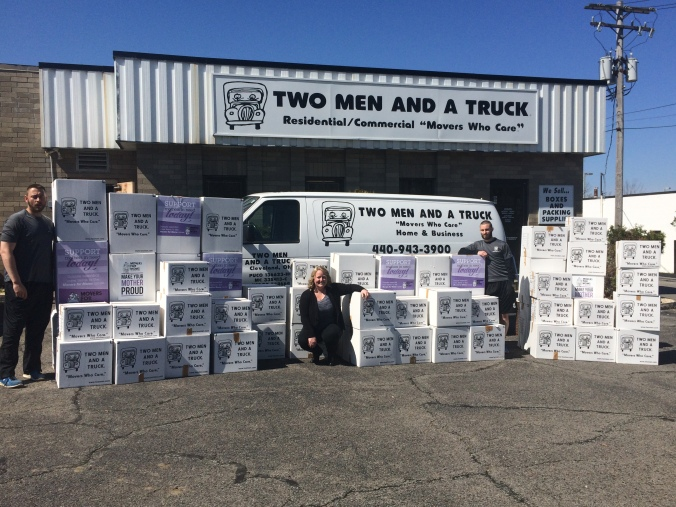 TWO MEN AND A TRUCK® Cleveland prepares to deliver more than 60 boxes of essential items to moms in need!