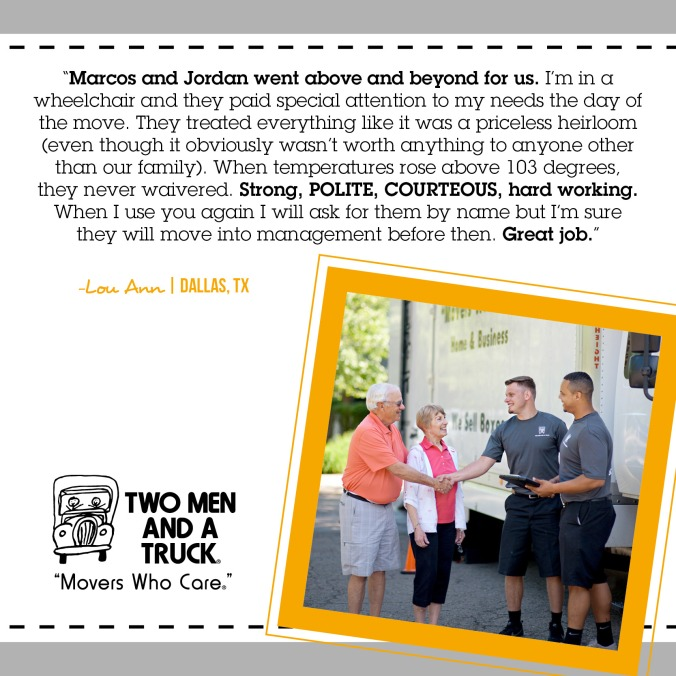 TWO MEN AND A TRUCK Senior moving review
