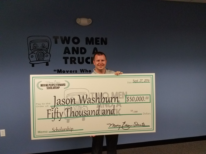 Jason Washburn receives Mary Ellen's Moving People Forward Scholarship